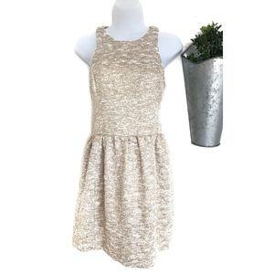 Zara | Gold Tweed Fit & Flare Skater Dress